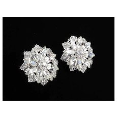 Huge Rhinestone Star Earrings Rhodium Plate