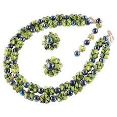 Ruffle Bead Necklace Earrings Demi Parure Set