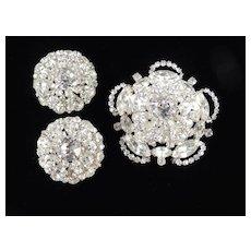 Joseph Wiesner New York Rhinestone Dome Brooch Pin Earrings Set Rhodium Plate