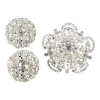 Joseph Wiesner New York Rhinestone Dome Brooch Pin Earrings Set Rhodium Plate