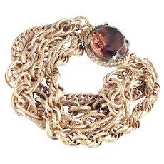 Unsigned Accessocraft Multi Chain Link Bracelet Art Glass Stone.