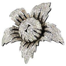 Halbe Rhinestone Enamel Brooch Pin Rhodium Plate