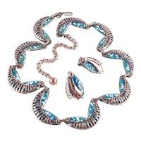 Matisse Renoir Seine Enamel Copper Necklace Earrings Demi Parure Set