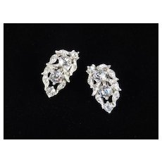Bogoff Dentelle Rhinestone Earrings Rhodium Plate
