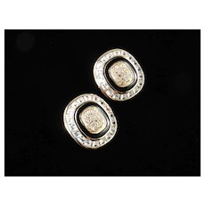 Christian Dior Rhinestone Enamel Earrings