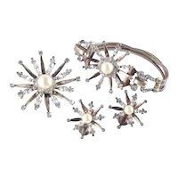 Mazer Sterling Vermeil Rhinestone Faux Pearl Starburst Bracelet Pin Earrings Set
