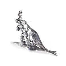 Large Sterling Silver Lily of the Valley Brooch Pin