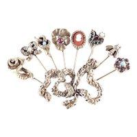 Goldette Rhinestone Glass Faux Pearl Stick Pin Brooch