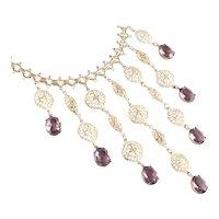 Art Deco Era Faux Amethyst Dangle Book Chain Bib Necklace