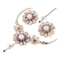 Rhinestone Faux Opal Cabochon Necklace Earrings Demi  Parure Set