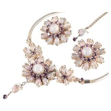 Rhinestone Faux Opal Cabochon Necklace Earrings Demi  Parure Set