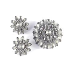 Judy Lee Rhinestone Frosted Glass Brooch Pin Earrings Demi Parure Set