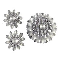 Judy Lee Rhinestone Frosted Glass Brooch Pin Earrings Demi Parure Set
