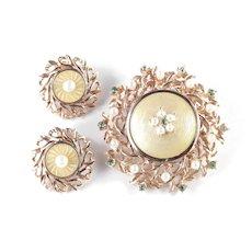 Cathe Rhinestone Faux Pearl Guilloche Enamel Brooch Pin Pendant Earrings Set