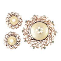 Cathe Rhinestone Faux Pearl Guilloche Enamel Brooch Pin Pendant Earrings Set