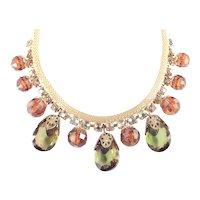 Mesh Coil Rhinestone Glass Resin Dangle Necklace