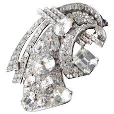 Eisenberg Sterling Silver Rhinestone Fur Clip