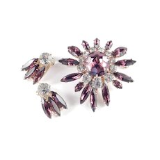 Amethyst Glass Rhinestone Brooch Pin Earrings Demi Parure Set
