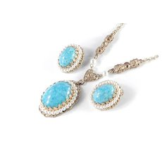 West Germany Faux Turquoise Glass Cabochon Pearl Necklace Earrings Set