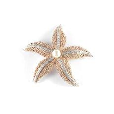Ciner Rhinestone Faux Pearl Starfish Brooch Pin Unsigned