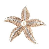 Ciner Rhinestone Faux Pearl Starfish Brooch Pin Unsigned