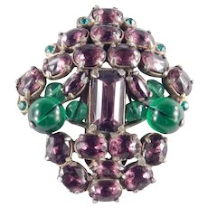 Art Deco Vintage Peking Glass Bead Rhinestone Faux Amethyst Dress Clip