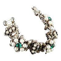 Wide Rhinestone Faux Pearl Link Bracelet