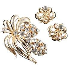 Lisner Rhinestone Brooch Pin Earrings Demi Parure Set