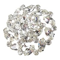 Weiss Domed Rhinestone Brooch Pin