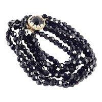 Triple Three Strand Row Jet Black Glass Bead Necklace Cabochon Clasp