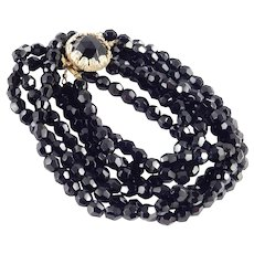 Triple Three Strand Row Jet Black Glass Bead Necklace Cabochon Clasp