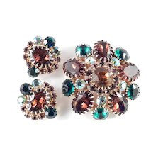 Rhinestone Brooch Pin Earring Demi Parure Set