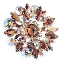 Layered Rhinestone Rose Cut Art Glass Brooch Pin