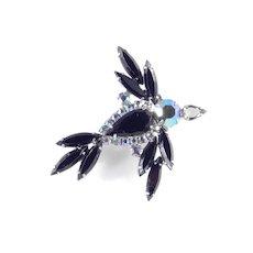 Juliana DeLizza & Elster Art Glass Rhinestone Figural Bird Brooch Pin
