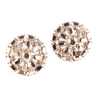 Trifari Mirrored Rhinestone Dome Earrings