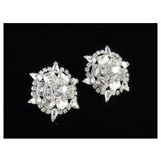Large Domed Rhinestone Earrings
