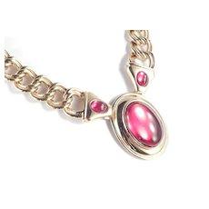 Napier Milano Faux Ruby Cabochon Chain Necklace