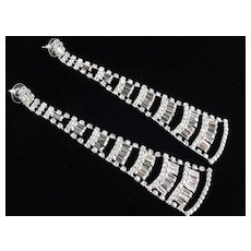 Rhinestone Baguette Tier Chandelier Shoulder Duster Earrings