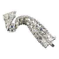 Wide Emerald Cut Rhinestone Bracelet