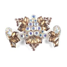 Juliana D & E Kite Rhinestone Brooch Pin Earrings Demi Parure Set