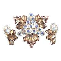 Juliana D & E Kite Rhinestone Brooch Pin Earrings Demi Parure Set