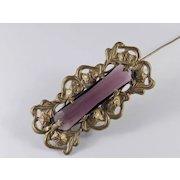 Art Nouveau Gilt Brass Amethyst Art Glass Brooch Pin