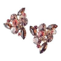 Large Triangular Rhinestone Earrings