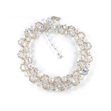 Vendome Coro Chain Wrapped Crystal Glass Bead Double Row Necklace