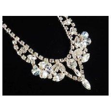 Rhinestone Glass Bead Dangle Necklace