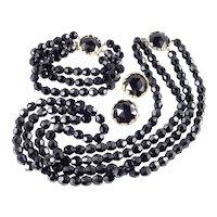 Jonne  Schrager Jet Black Glass Bead Necklace Bracelet Earrings Parure Set