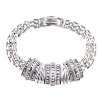 Sterling Silver Marcasite Link Dome Bracelet