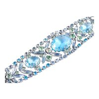 Wide Rhinestone Art Glass Bracelet