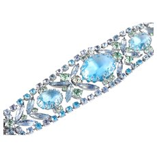 Wide Rhinestone Art Glass Bracelet