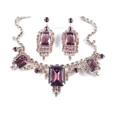 Rhinestone Necklace Pendant Dangle Earrings Demi Parure Set